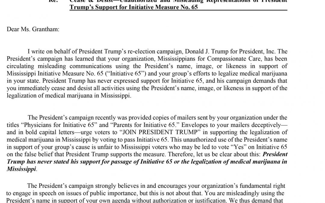 "Trump Campaign issues ""Cease and Desist Letter"" to Pro-65 Group"